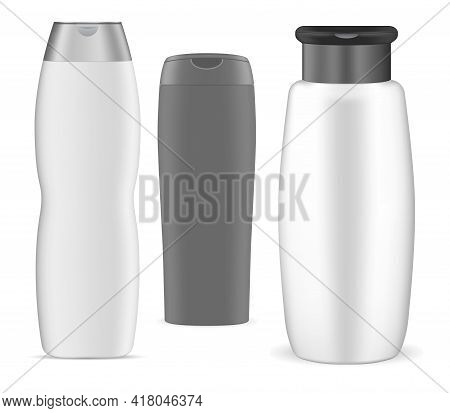 Shampoo Bottle, White Plastic Package, 3d Vector Design. Oval Cosmetic Tube Collection For Body Gel,