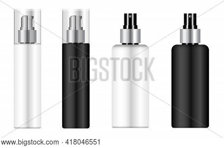 Cosmetic Mousse Bottle, Pump Dispenser Pack Mockup. Spray Packaging Blank, Plastic 3d Container Temp