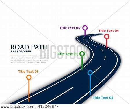 Winding Road Infographic Template With Milestone Points