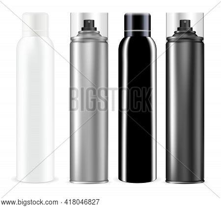 Spray Can. Chrome Deodorant Spray Bottle Mockup. Aluminium Tube For Hairspray, Mist Freshener Contai