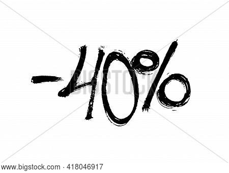 Graffiti Lettering Discount -40 Percent. Vector Template On White Background