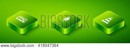 Set Isometric Ringing Alarm Bell, Traffic Cone And Fire Truck Icon. Vector