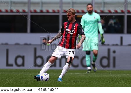 Milano, Italy. 18th April 2021. Simon Kjaer Of Ac Milan  During The Serie A Match Between Ac Milan A