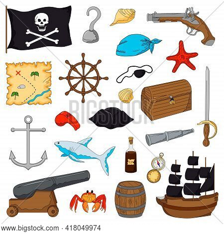 Set Of Pirate Objects. Hand Drawing In Cartoon Style. Vector Illustration. Isolated Objects On White