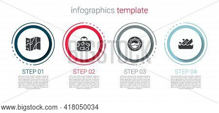 Set Folded Map, Suitcase, Ship Porthole With Seascape And Sinking Cruise Ship. Business Infographic