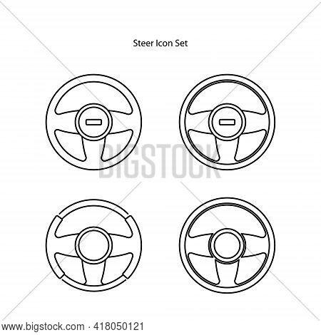 Steering Wheel Icon Set Isolated On White Background. Steering Wheel Icon Thin Line Outline Linear S