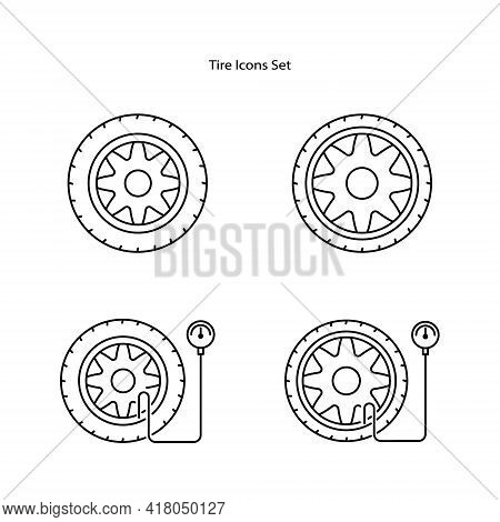 Tire Icon Set Isolated On White Background. Tire Icon Thin Line Outline Linear Tire Symbol For Logo,