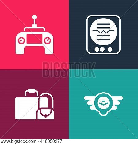 Set Pop Art Aviation Emblem, Suitcase, Attitude Indicator And Drone Remote Control Icon. Vector