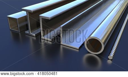 Different Rolled Metal On The Floor - Cg Industrial 3d Illustration