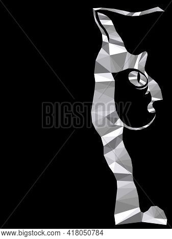 Mosaic Of Serious Cat Muzzle In Monochrome Colors Isolated On The Black Background, Decoration On Gl