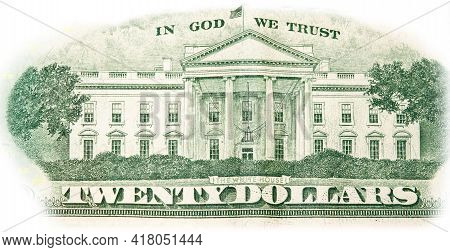 Close-up 20 Us Dollar Banknotes, Reverse Side Twenty Dollar Banknote Depicting White House. Cash Exc