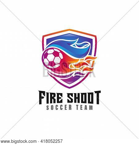 Soccer Club Emblem Combined With Fire Ball Style Concept Logo Design. Sport Logo Design Element Illu