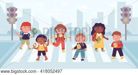 Crosswalk Children. Elementary School Pupils Crossing Street On Cross Road, Observance Traffic Rules