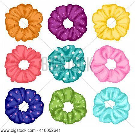 Hair Scrunchies. Cartoon Elastic Hairdo Bands, Textile Elastic Rings, Girlish Hairstyle Tools. Women