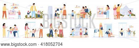 Back To School. School Education Preparation, Parents And Children Buying School Supplies Vector Ill