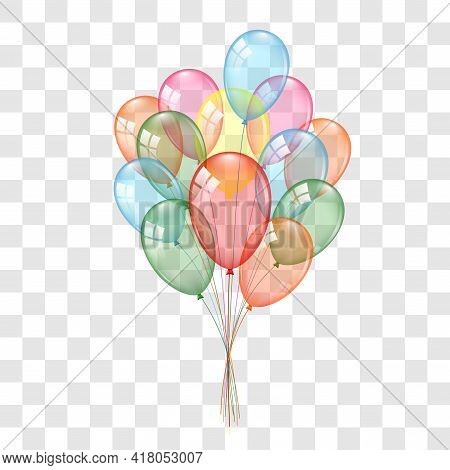Balloons 3d Bunch Set, Isolated On White Transparent Background. Color Glossy Flying Baloon, Ribbon,