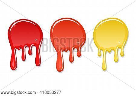 Drip Paint Spot 3d Set Isolated White Background. Red, Orange, Yellow Ink Splash. Splatter Stain Tex