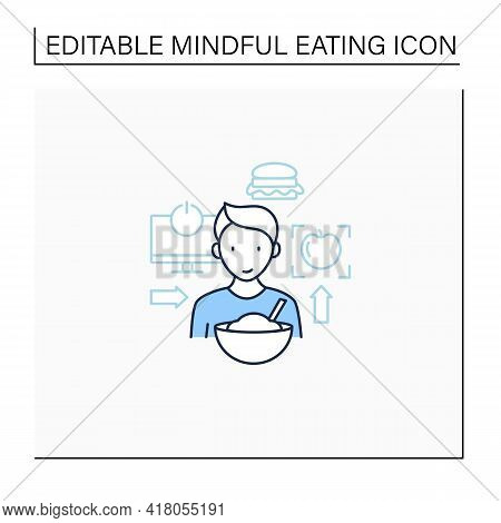 Mindful Eating Line Icon. Conscious, Intuitive Nutrition. Small Portions. Enjoy Your Meal. Mealtimes