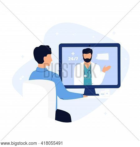 Online Doctor Consultation. The Patient Is At A Remote Appointment With A Therapist. A Man Has A Con