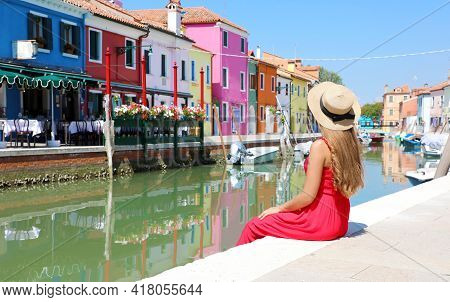 Tourism In Venice. Panoramic Banner View Of Pretty Woman In Red Dress Sitting And Looking The Old Co