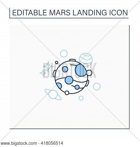 Mars Line Icon. Fourth Planet From Sun. Uninhabited Planet. Cosmos Research. Mars Landing Concept. I