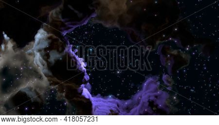 3d Rendering. A Huge Glowing Nebula With Young Stars . Space Background.