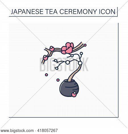 Flower Arrangement Color Icon. Japanese Bonsai Tree. Small Trees In Peas For Ornamental Garden. Saku