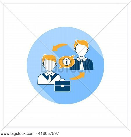 Exchanging Information Flat Icon. Exchanging Networks, Thoughts, Knowledge With Other People. Effect