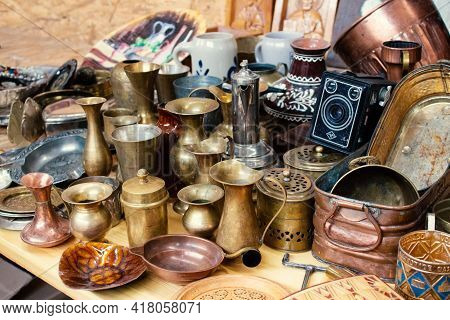 Lviv, Ukraine - March 7, 2021 : Antiques On Flea Market, Vintage Silver Cultery - Spoons, Knifes, Fo