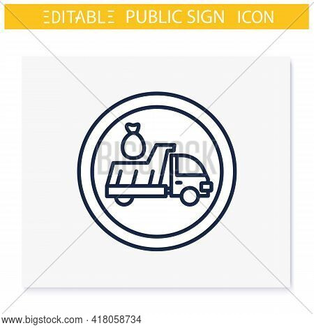 Litter Disposal Symbol Line Icon. Litter Car. Garbage Collection, Recycling Area. Public Place Navig