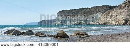 Beach Panoramic Landscape. Panorama Of Coastline With Limestone Cliffs And Sea Waves At Kourion Sand
