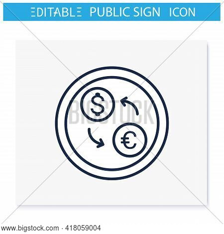 Currency Exchange Symbol Line Icon. Cash Converter.exchanging Service, Bank Office Sign. Public Plac