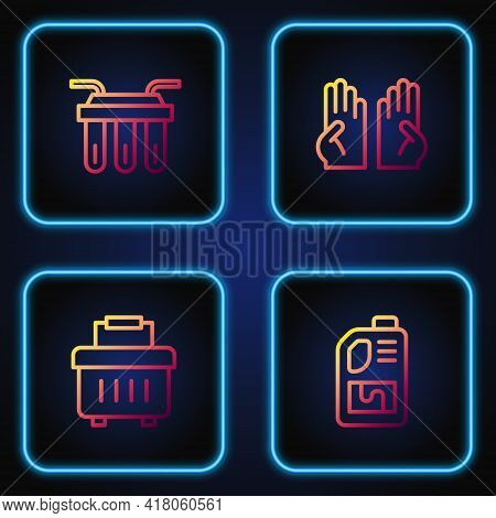 Set Line Drain Cleaner Bottle, Toolbox, Water Filter And Rubber Gloves. Gradient Color Icons. Vector
