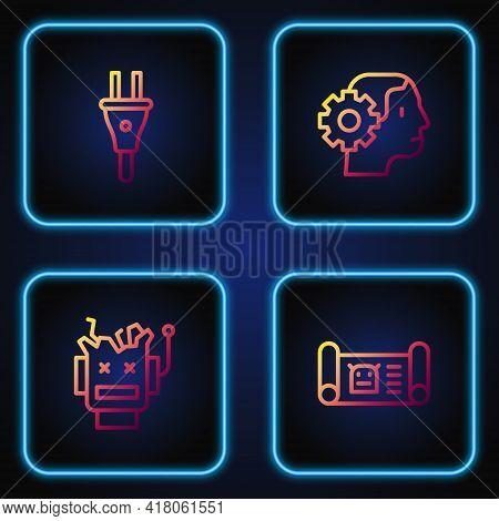 Set Line Robot Blueprint, Broken Robot, Electric Plug And Humanoid. Gradient Color Icons. Vector