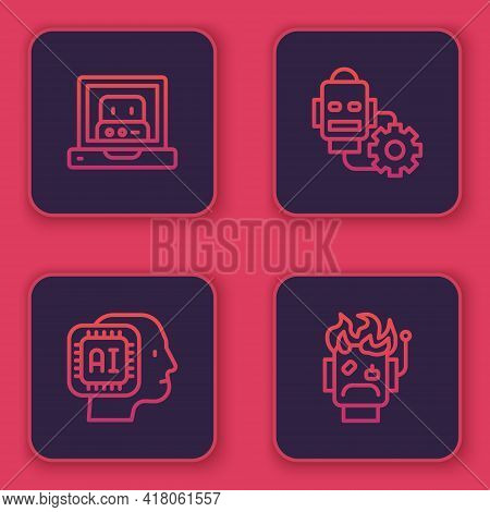 Set Line Creating Robot, Humanoid, Robot Setting And Burned Out. Blue Square Button. Vector