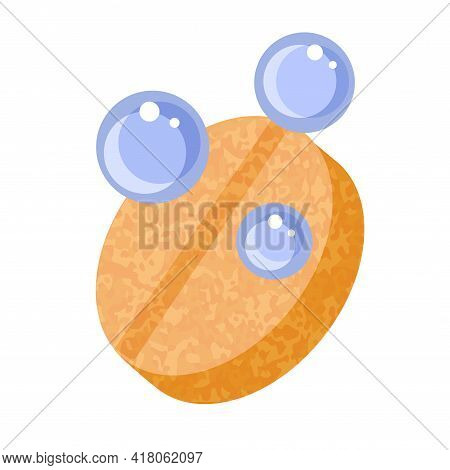 Orange Effervwsent Tablet With Blue Bubbles Fizzy Icon Isolated Vector Illustration