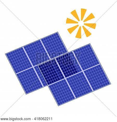 Solar Panels Vector Illustration, Energy Of Sun Icon, Alternative Green Renewable Energy Source, Sol