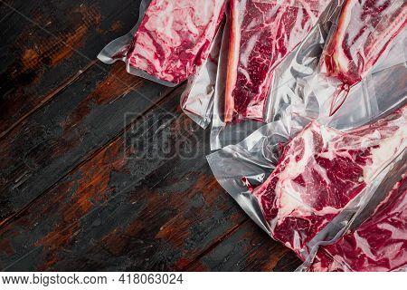 Beef Steak Vacuum Sealed Ready For Sous Vide Cooking Set, Tomahawk, T Bone, Club Steak, Rib Eye And