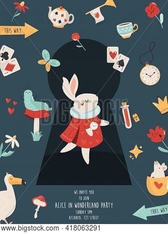 Party Invitation With White Rabbit And Other Symbols Of Alice In Wonderland