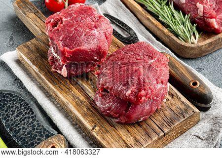 Raw Fresh Marbled Meat Black Angus Steak Set, Filet Mignon Tenderloin Cut, On Wooden Cutting Board,