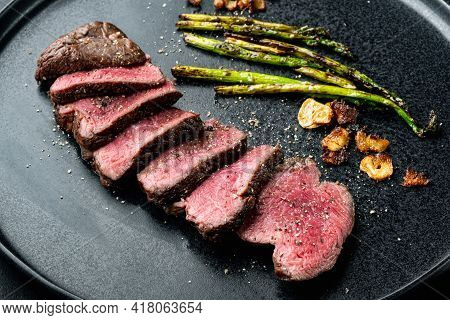 Pieces Of Delicious Barbecued Meat Medium Rare Beef Steak Set, Tenderloin Or Fillet Mignon Cut, On P