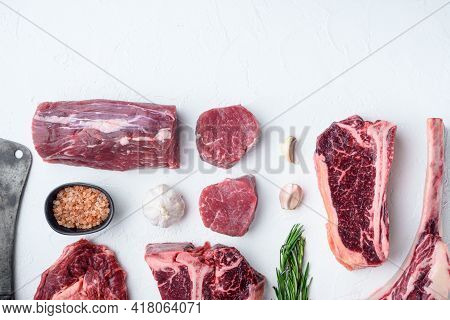 Various Cuts Of Marbled Beef Meat And Dry Aged Steaks Set, Tomahawk, T Bone, Club Steak, Rib Eye And