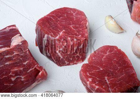 Raw Fresh Marbled Meat Steak Filet Mignon Set, On White Stone  Surface