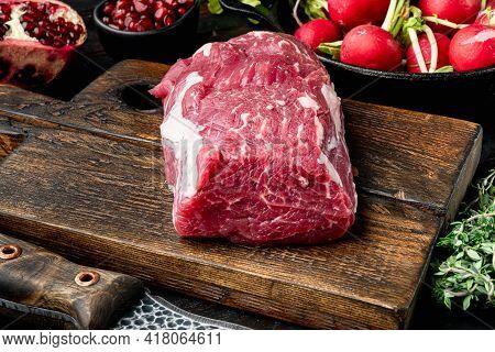 Raw Beef Meat Steak Tenderloin Fillet Mignon Set, On Old Dark  Wooden Table Background