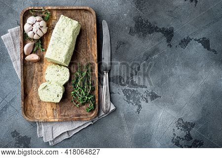 Farm Butter With A Herb  For Sandwiches And Steak Set, On Gray Stone Background, With Copy Space For