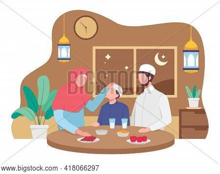Happy Family Greeting And Celebrating Eid Mubarak. Muslim People Wishing And Greeting Eid Al-fitr. V