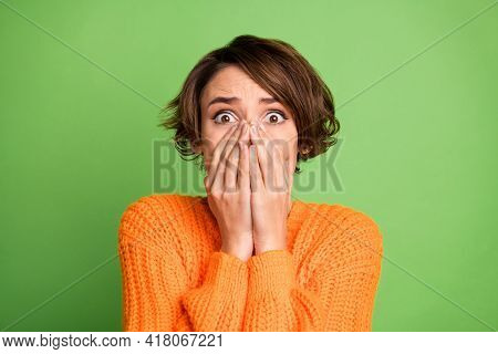 Photo Of Young Shocked Amazed Scared Frightened Anxious Girl Cover Close Face Isolated On Green Colo