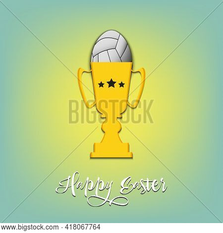 Volleyball Ball In The Form Of Egg In Goblet