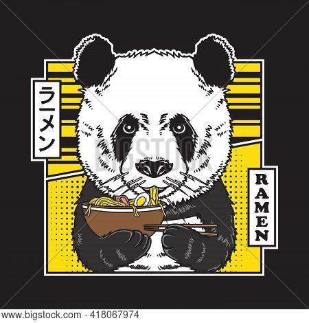 Cute Panda Eat Japan Noodle Ramen Illustration In Flat Comic Style