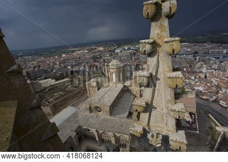 Lleida, Spain, May 1, 2020 - Top View On La Seu Vella Cathedral From Tower Via Nice Typical Gothic A